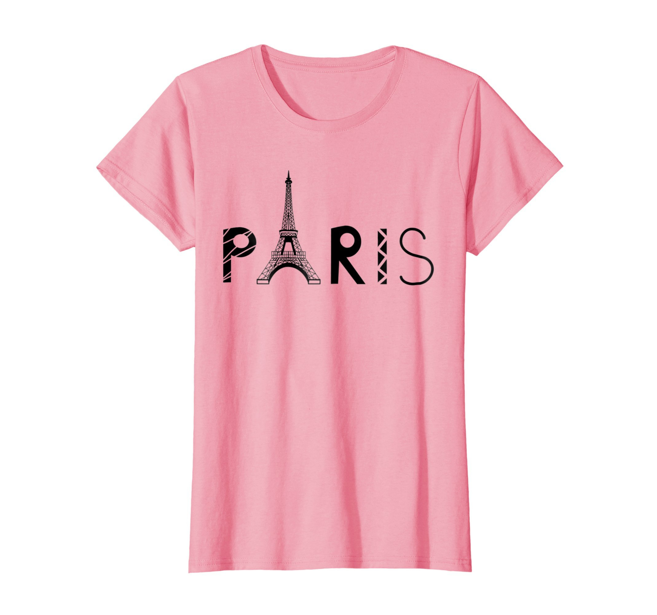 Womens Vintage Paris Tshirt I Love Travel Wanderlust Eiffel Tower XL Pink