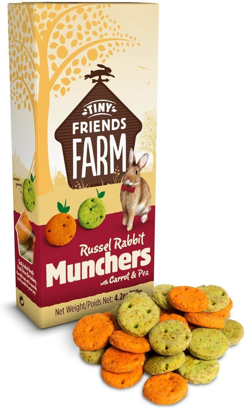 SupremePetfoods Tiny Friends Farm Russel Rabbit Munchers with Carrot & Leek 4.2 oz - Pack of 2