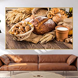 Canvas Prints Painting Nordic Home Decor Wall Art Milk And Bread Picture Breakfast Food Poster And For Kitchen Dining Room-70x100cm Frameless