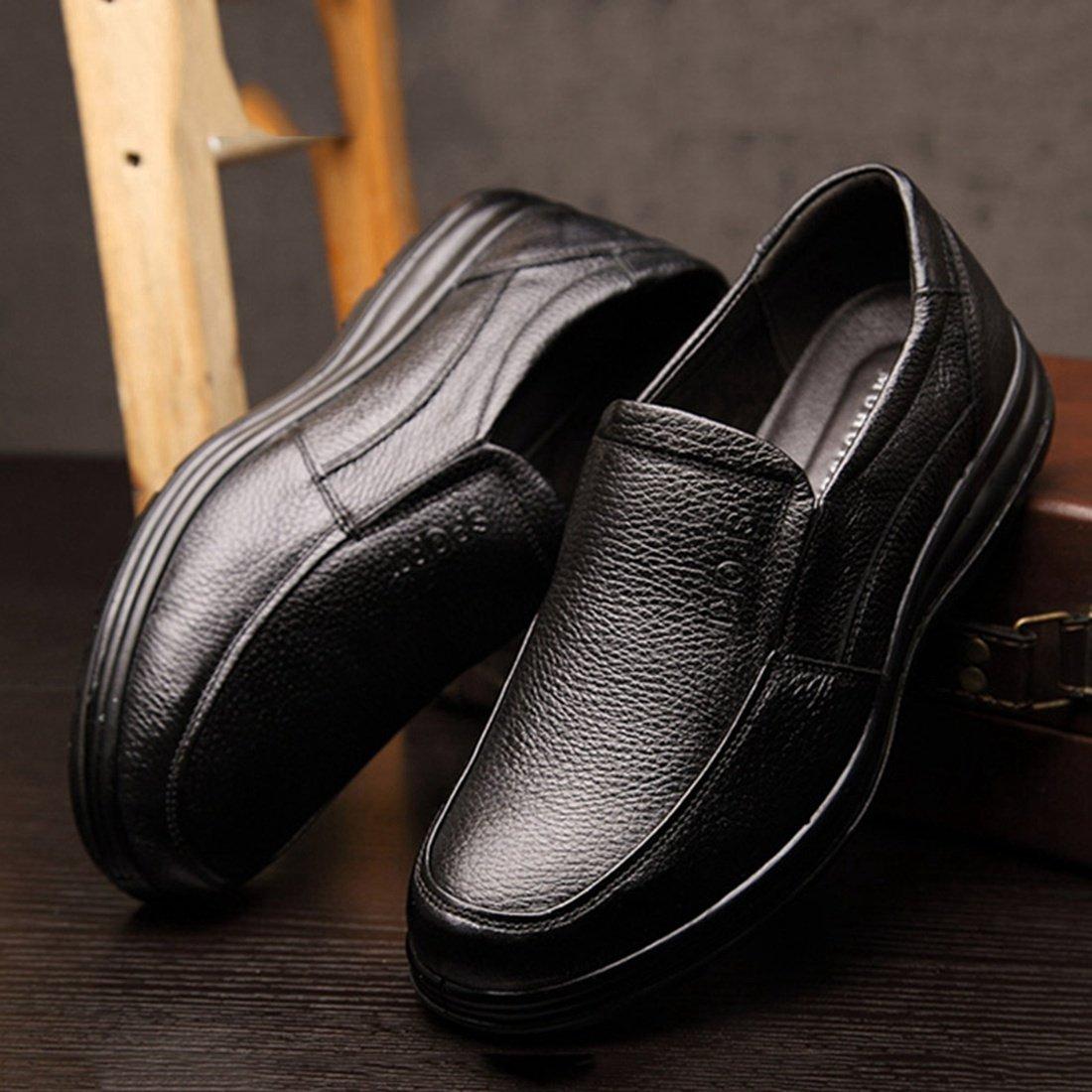Enerhu Men Slip on Work Shoe Flat Chef Shoes Leather Wear Resistant Oilproof Waterproof Black Asian 44/US 9.5 by Enerhu (Image #4)