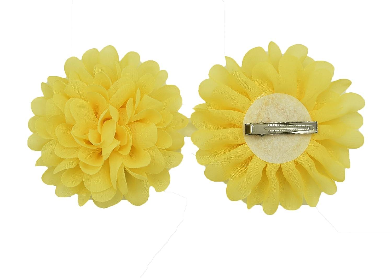 PrettyBoutique Girls Kids Women Chiffon Flower Hair Clip Alligator Clip Party Wedding (7cm, White)