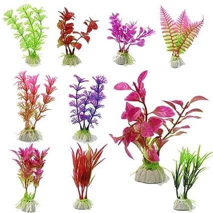 10 plantas decorativas artificiales para acuario (color al azar) de la marca WINOMO