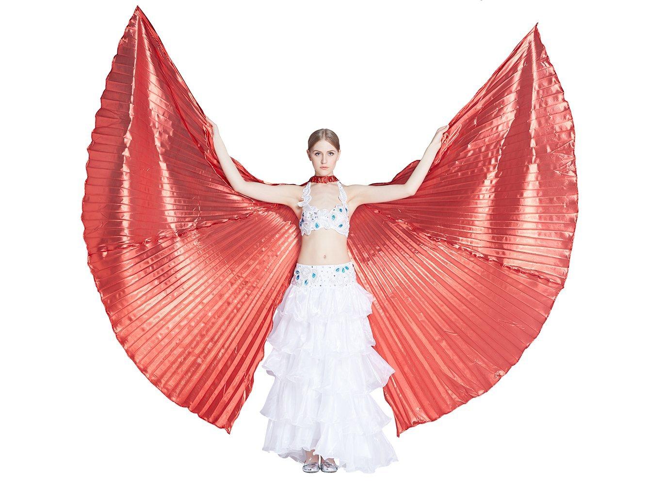 Dance Fairy Apertura Danza del Ventre Iside Ali Puntelli Danza con bastoni aste, Rosso BDWOGC
