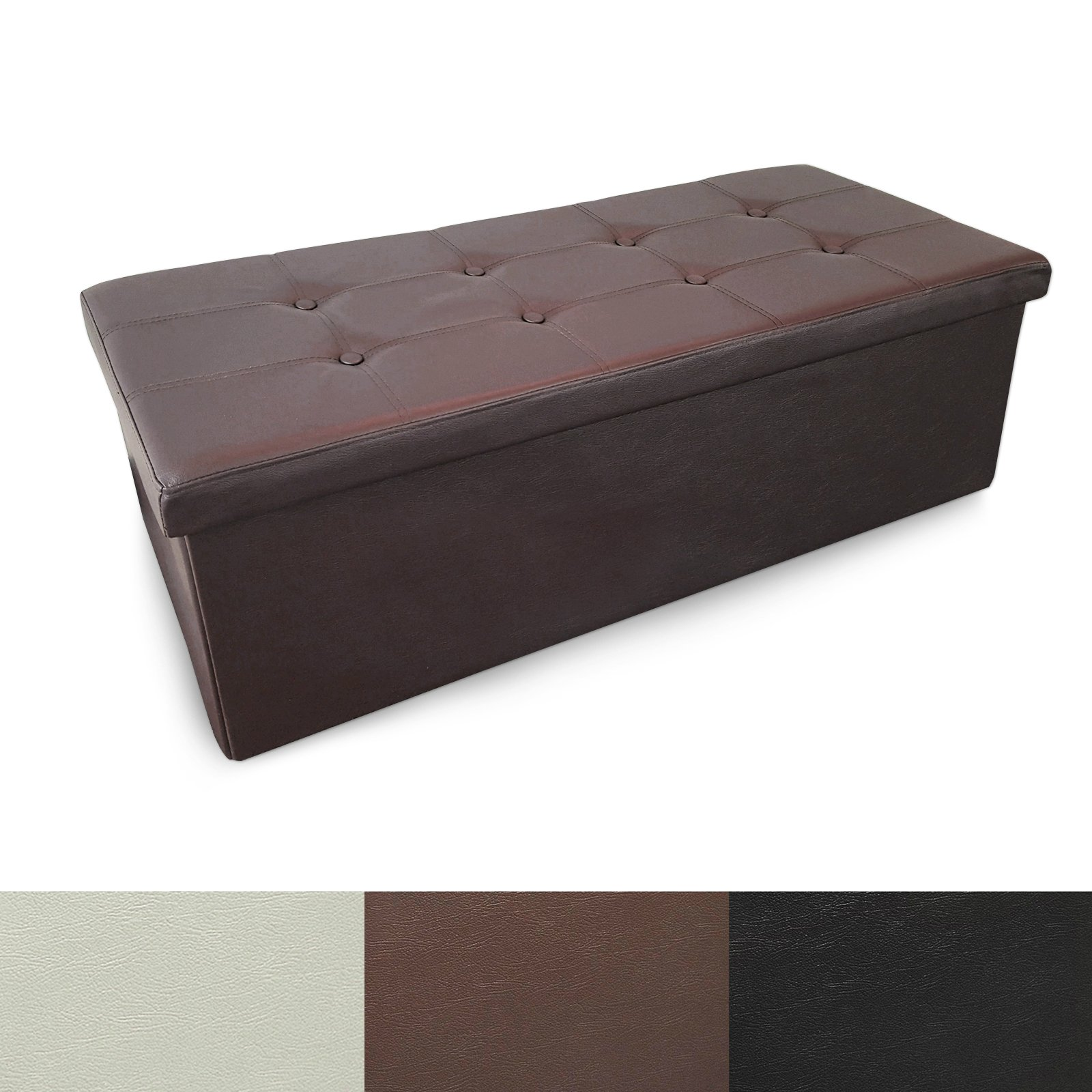 casa pura Large Folding Ottoman with Storage | Luxury Upholstered Storage Bench for Bedroom & Living Room | Faux Leather - Brown | 3 Sizes available - 42'' x 15'' x 15''