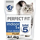 PERFECT FIT INDOOR STERILISE - Croquettes au poulet  pour chat d'intérieur 1,4kg - lot de 4 (5,6kg)