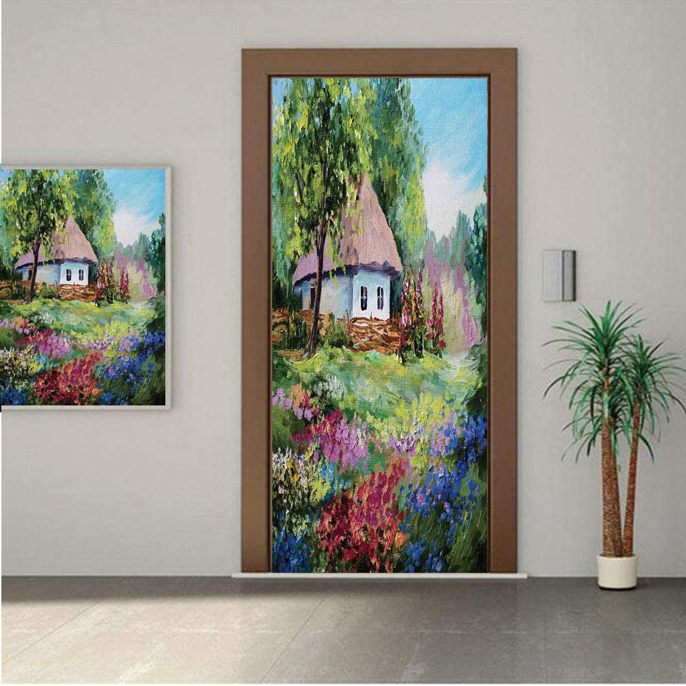 AngelSept Rustic Premium Stickers for Door/Wall/Fridge Home DecorArtistic Stone House and Small Garden with Wooden Fence Colorful Spring Flowers 18x80 ONE Piece Sticky Mural,Decal,Cover,Skin