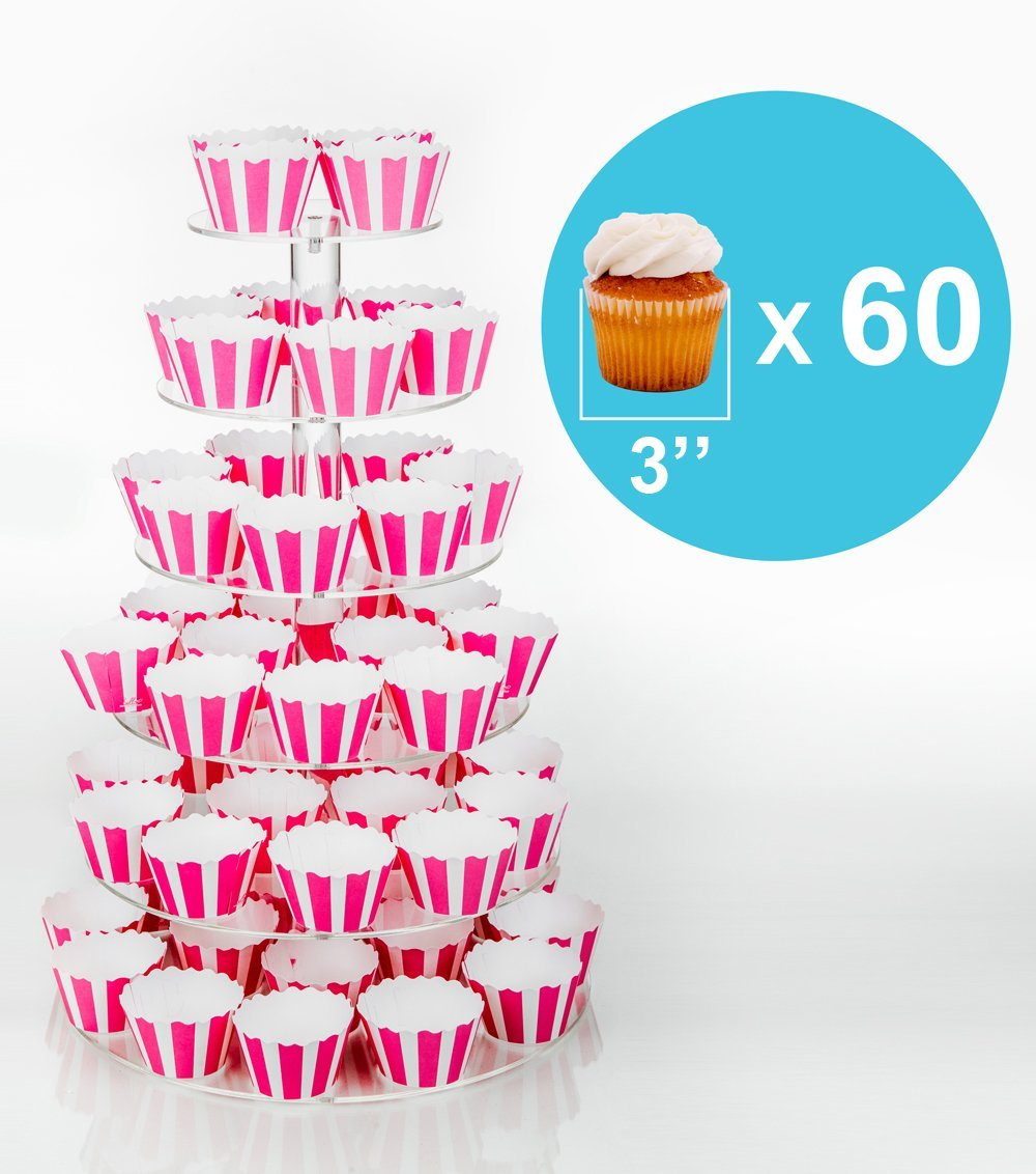 Jusalpha 6 Tier Round Acrylic Cupcake Stand-cake stand-dessert stand, cupcake Tower 6RFs (6 Tier With Base) (6RF-small) by Jusalpha (Image #5)