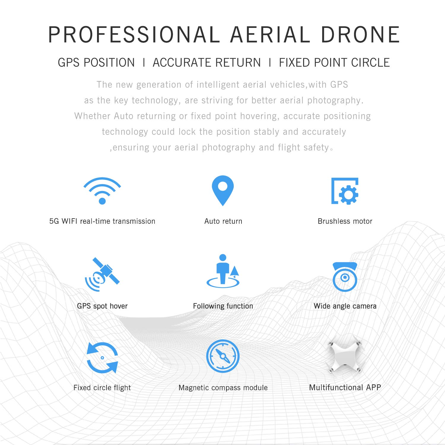 GAOAG GPS RC Drone with 5G WiFi FPV 1080P Camera and GPS One Key Return Home Altitude Hold Headless Mode Follow Me Brushless Motors and APP Control