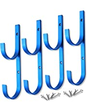 MENG ZHI AO 4 Pcs Set Pool Pole Hangers Heavy Duty Blue Aluminium Holder with Screws Perfect Hooks for Swimming Pool Telescopic Poles Skimmers Nets Brushes Vacuum Hose Garden Equipment Outdoor Supplies