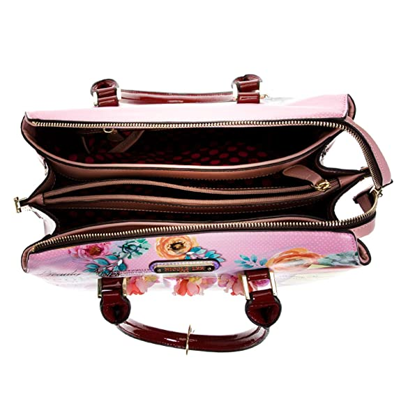 Floral Top Handle Satchel Handbag with Adjustable/Detachable Shoulder Strap: Handbags: Amazon.com