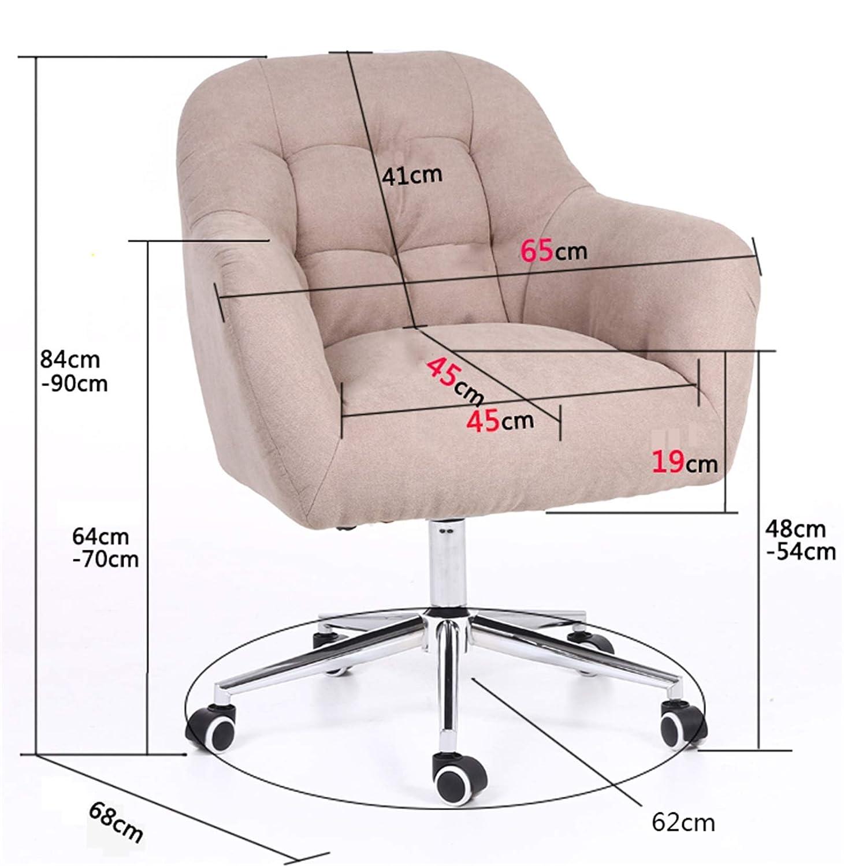 LYJBD Skrivbordsstolar med hjul, bekväm armlös svängbar stol, justerbar svängbar rullning förbättra hållningen nu och nacksmärta Ljusbrunt
