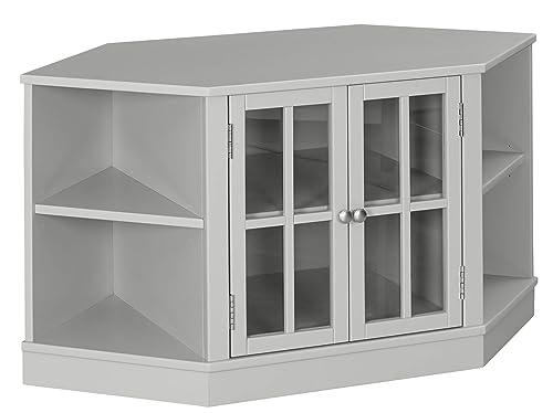 Ravenna Home Westly Corner Glass Cabinet Storage TV Media Entertainment Stand, 52 W, Grey