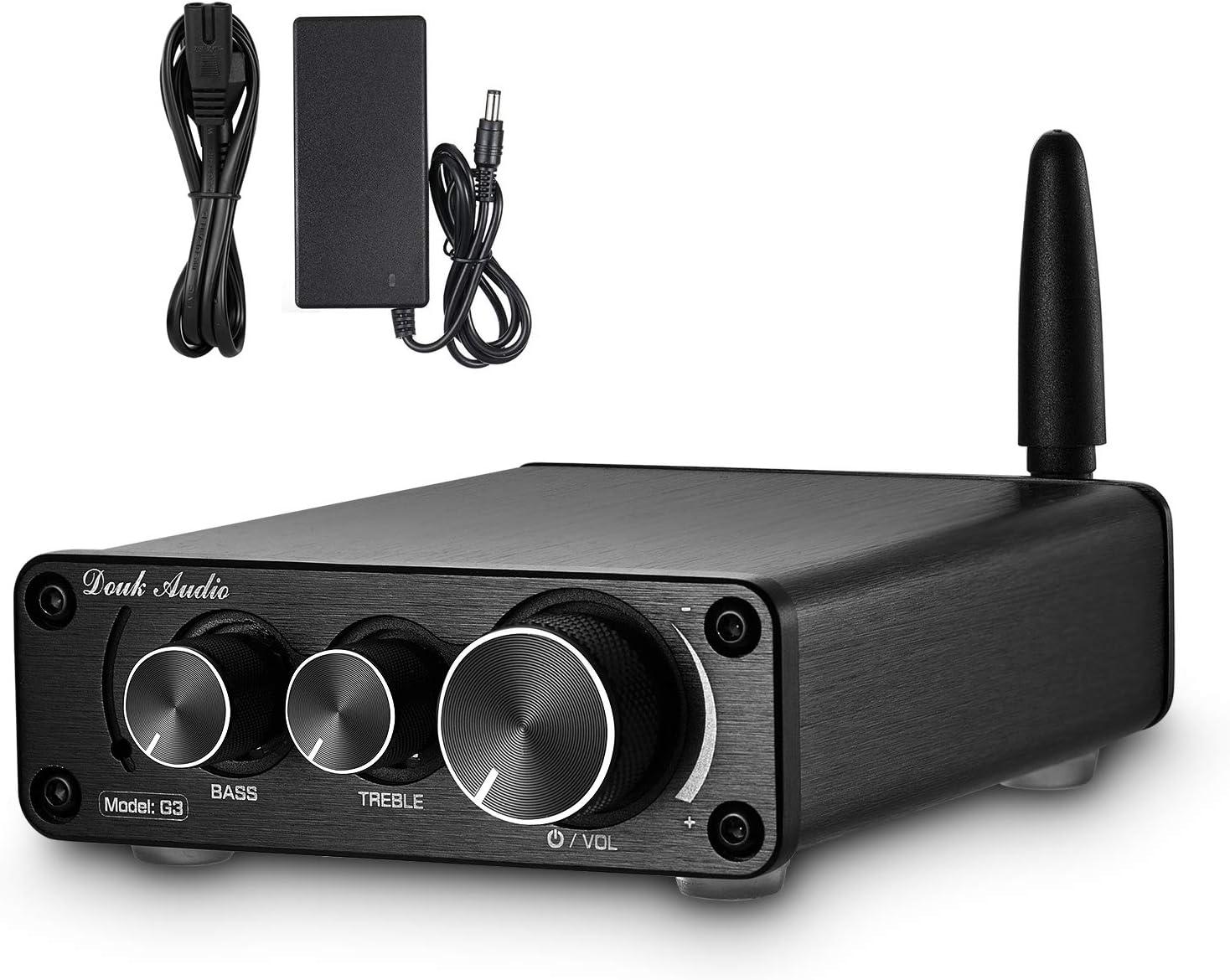 Nobsound G3 2 Canales Bluetooth 5.0 Amplificador de potencia 100W Clase D Hi-Fi Audio estéreo Mini Amp Receptor inalámbrico Home Theater Control de graves agudos (negro)