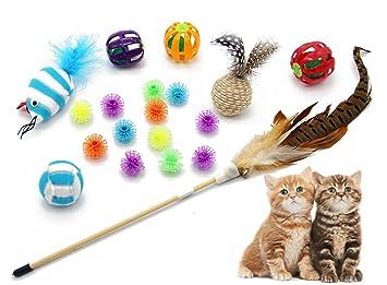 BPS [19 in 1] Pack de Juguete Interactivo Varita para Gatos Gatitos Mascotas Animales Domésticos Juguetes: Cat Stick, Pez, Rascador Pequña, Pelota y ...