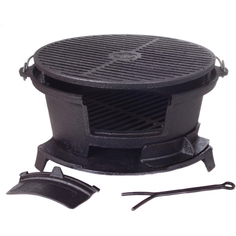Amazon.com: Cajun Cookware Round Seasoned Cast Iron Charcoal Hibachi Grill    Gl10447: Patio, Lawn U0026 Garden