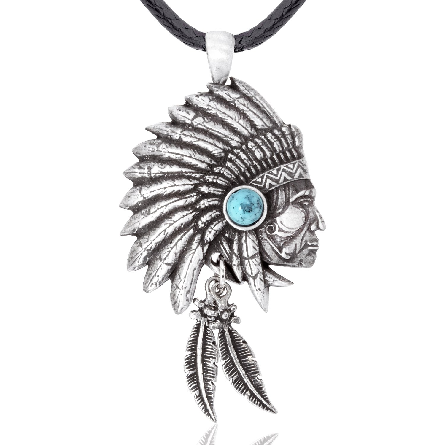 Dan's Jewelers Indian Inspired Chieftain Head Pendant Necklace, Fine Pewter Jewelry