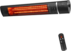 Outdoor Wall-Mounted Patio Heater - VQVG 1500W Electric Infrared Outdoor Heater with Remote Control Infrared Patio Heater Waterproof IP65 Super Quite for Garage Home (Black)