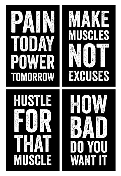 Damdekoli Gym Posters, 11x17 Inches, Set of 4, Wall Art, Hustling,  Motivational Inspirational, Fitness Lifting Workout Print Black