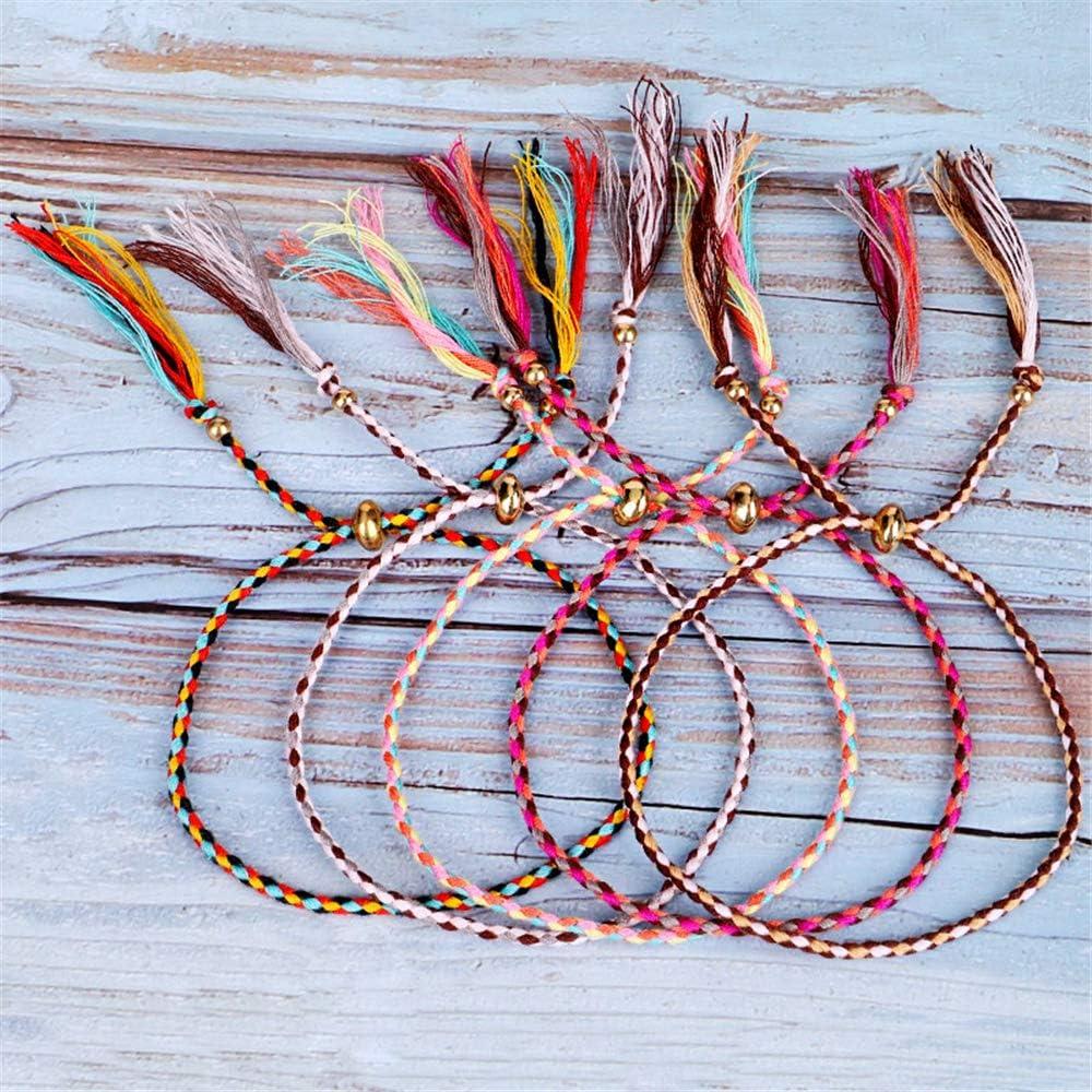 KELISTOM 12pcs Handmade Braided Colorful String Friendship Bracelet Set Boho Adjustable Rope String Wrap Bracelets for Women Men Teen Girls Birthday Party GIFS
