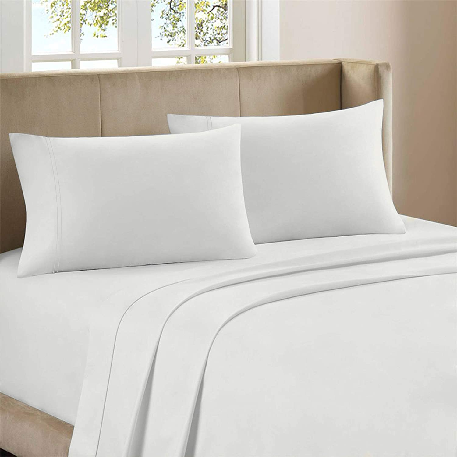 "Color Sense 800 Thread Count 100% Cotton 4 Piece Bed Sheet Set, Queen Sateen Sheets, Best fit-NO POP Outs, Soft, Highly Durable & Breathable, Patented Fitted Sheet fits Upto 18"" Deep Pocket, White"