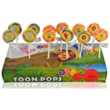 Toonpops - Assorted Fruit Flavoured Cartoon Candy Swirl Lollipop 1.5 inch round, 120 g (Pack Of 12 pcs)
