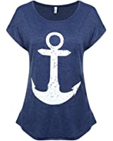 FUNOC Womens Boat Anchor Printing Summer Short Sleeve T-Shirt Blouse Tank Tops