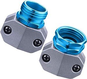 Garden Hose Connector Kit Water Hose Repair Fittings Aluminum Male Female Hose Repair Mender End for 3/4 Inch or 5/8 Inch Garden Hose Connector Replacement (Blue)