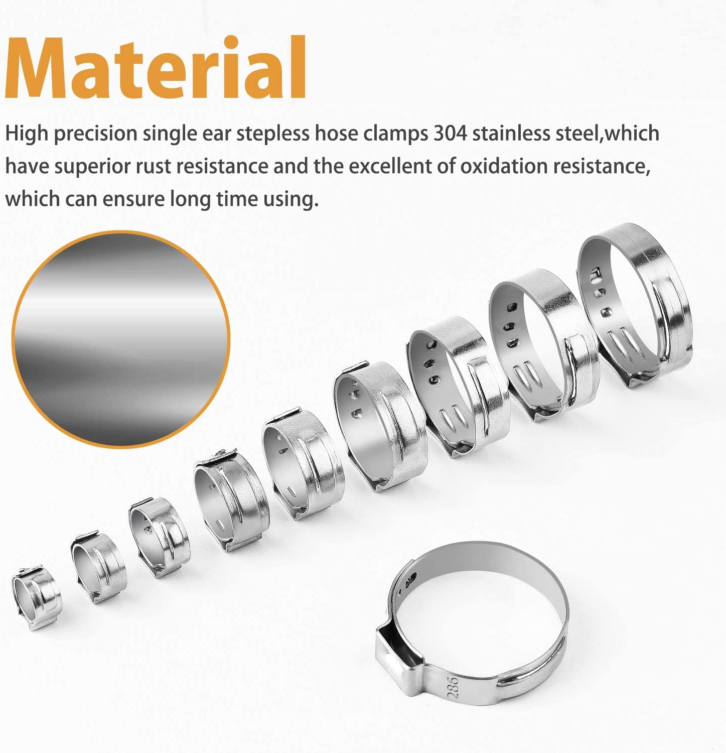 VIGRUE 115Pcs 304 Stainless Steel Single Ear Hose Clamps, 6-28.6mm Stepless Hose Clamps with Ear Clamp Pincer, Cinch Rings Crimp Hose Clamps Assortment Kit for Water Pipe, Plumbing and Automotive Use - -