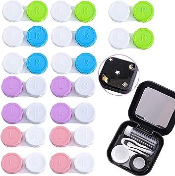 LABOTA - Estuche para lentes de contacto, 17 unidades, estuche de lentes de contacto, juego con botella de solución, pinzas, conector para lápiz, soporte para lentes y espejo, adecuado para viajes: Amazon.es: