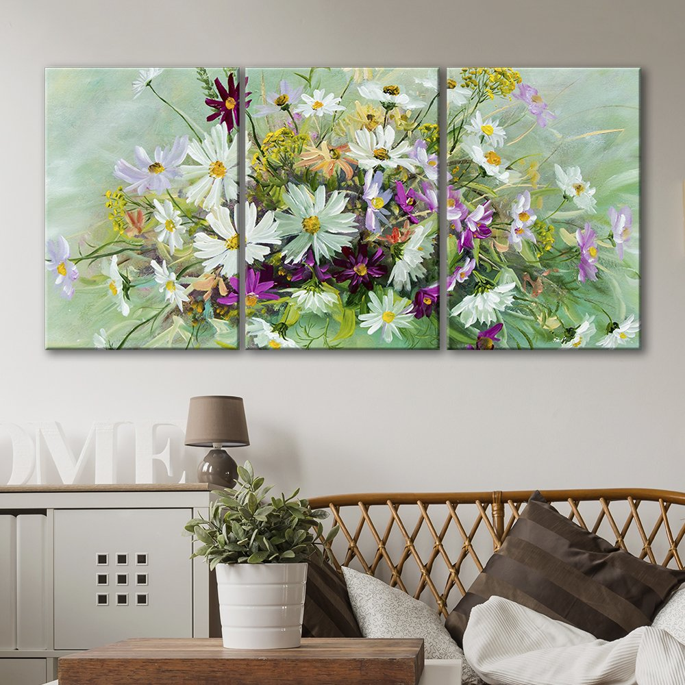 3 panel oil painting style flowers x 3 panels canvas art wall26