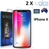 iPhone X Screen Protector [2-Pack] Nuglas Tempered Glass, 3D Touch, Tough 9H Hardness, Bubble Free, Easy Install, Anti-Oil, Screen Protector for Apple iPhone X