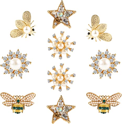 10Pcs Rhinestone Flower Embellishments Buttons for Hair Clip Brooches