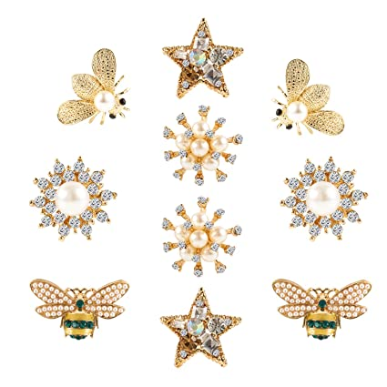 10pcs Alloy Rhinestone Flatback Bee Shape Button for Clothing Bag Decoration Crafting Pieces