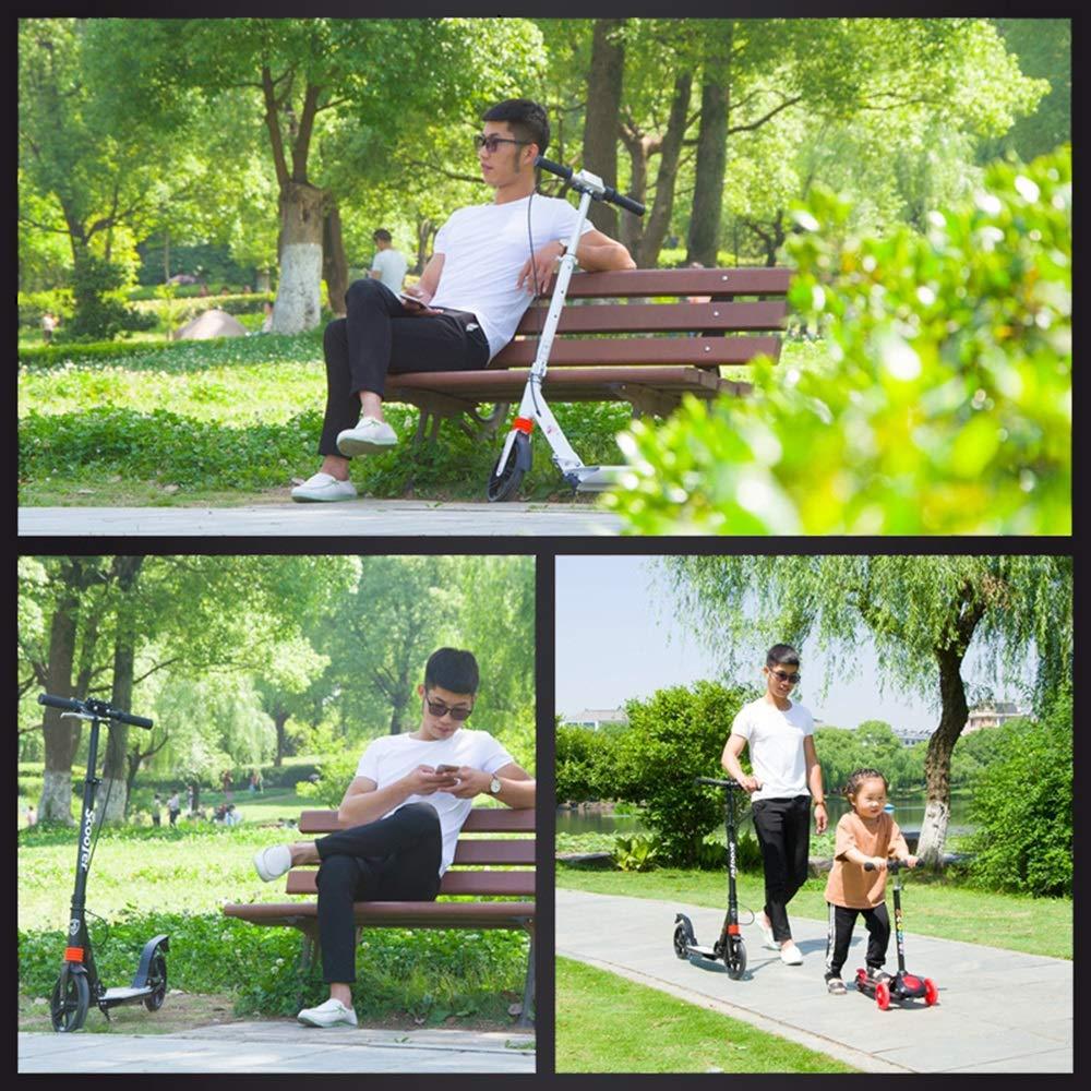 LJHBC Trottinette Freestyle Scooter 2 Roues Facile /à Plier avec Frein /à Main Convient aux Jeunes Adultes Alliage daluminium l/éger Portant 100 kg R/églable en Hauteur Blanc Noir Couleur : Blanc