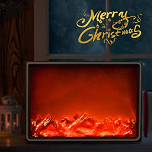LED Flame Effect Table Lamp, Decorative Flickering Fireplace Lantern, Hanging Sitting Night Light for Indoor Home Bedroom Christmas Thanksgiving Decoration