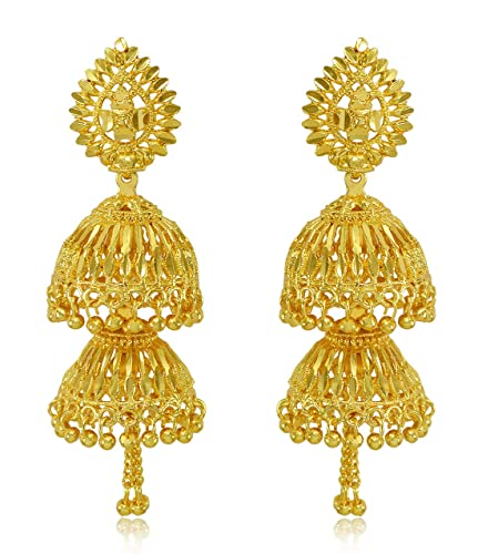 Round Traditional Gold Plated Jhumka Jhumki Earrings for Women /& Girls By Gahnemall