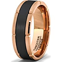 8mm Rose Gold Tungsten Ring Black Section Cut Comfort Fit (13)