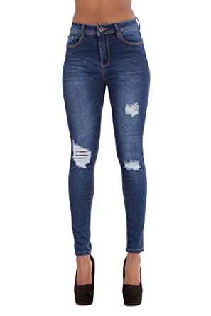 4c1f85f817a LustyChic New Women s High Waisted Blue Faded Denim Jeans Ladies Ripped  Fabric Skinny Slim Fit Stretch