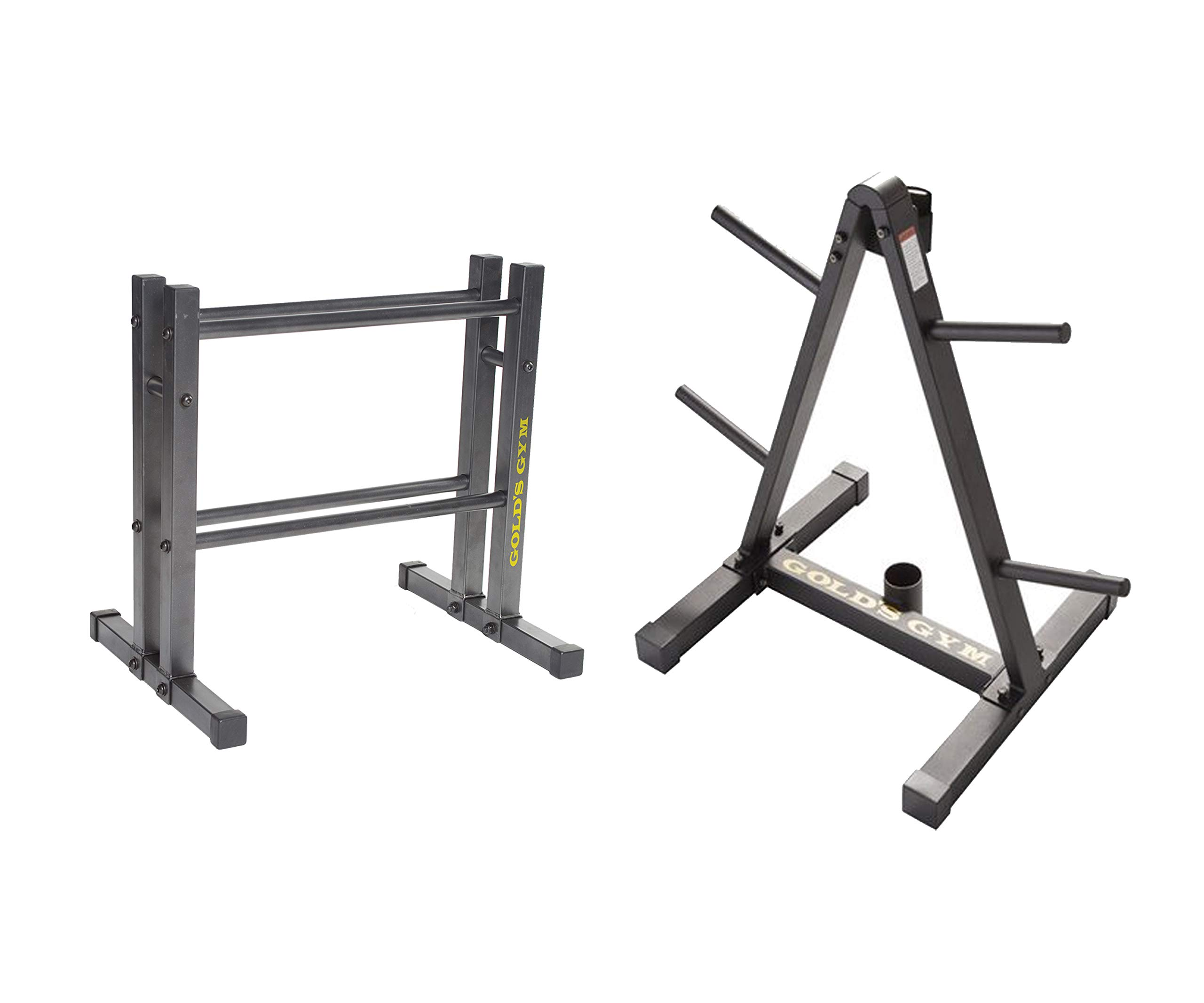 Golds Gym 24'' Utility Rack Bundle Weight Plate and Barbell Storage Rack with Compact Design