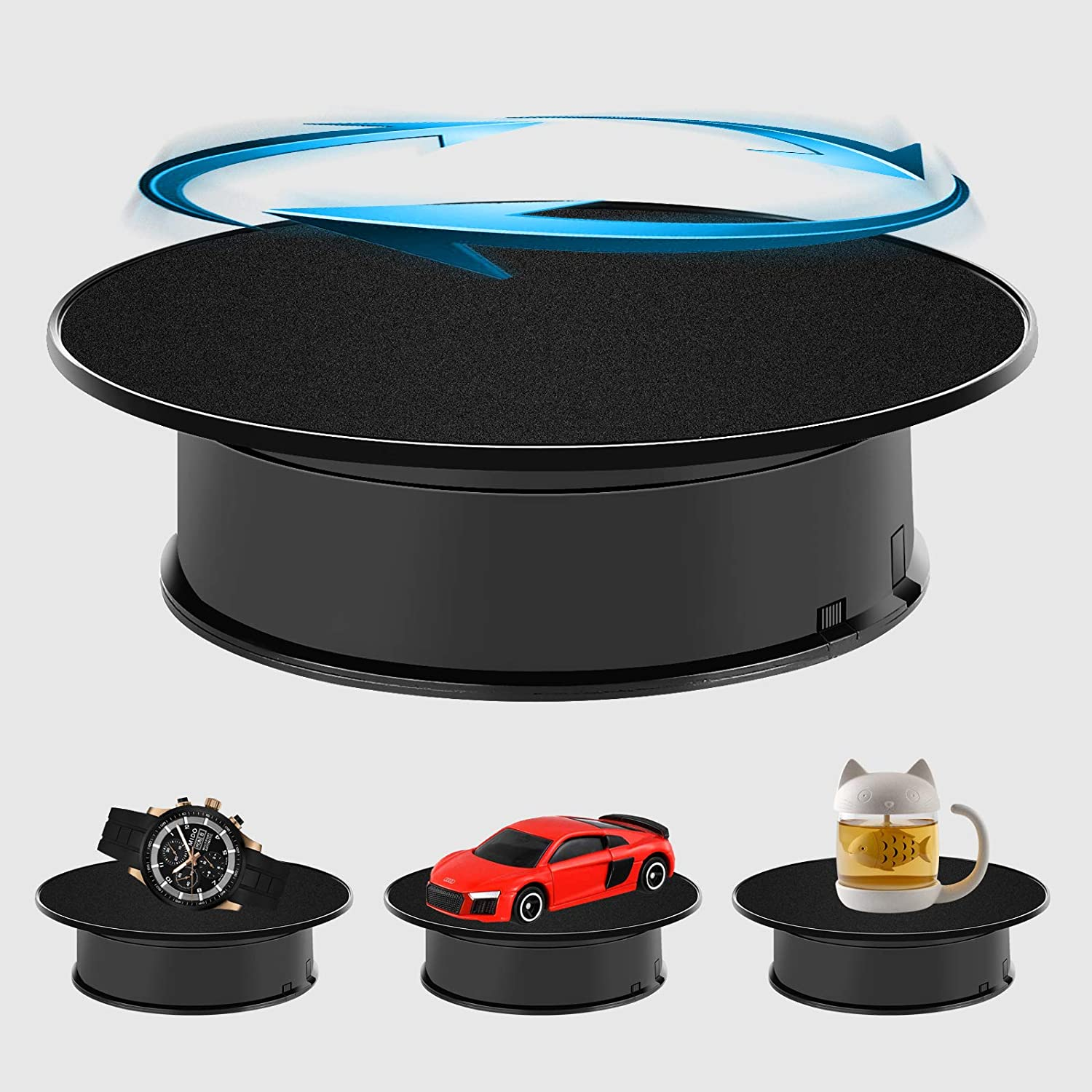 8 Black Velvet Top Motorized Rotating Display Base Turntable Stand with AC Adapter for Crafts /& Hobbies Fashion Jewelry Display Decoration