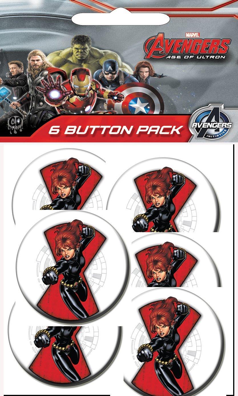 C/&D Visionary The Avengers Classic Black Widow Prepack Buttons 1.25 1.25 C/&D Visionary Inc 6 Piece B-MVL-0063-PP