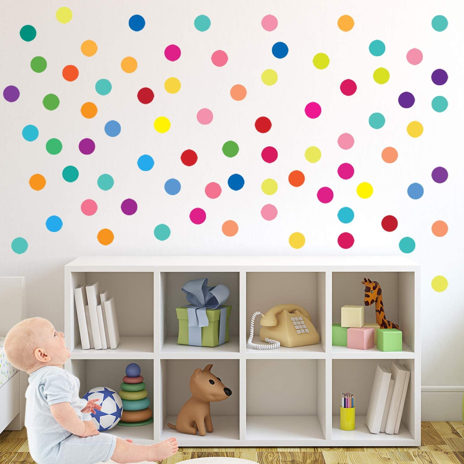 PARLAIM 130 PCS 4-1 Inch Rainbow Multi Size Wall Stickers, Peel and Stick Dot Decals Polka Dot Wall Decals for Room, Living Room, Bedroom, Classroom Decorations Multicolor