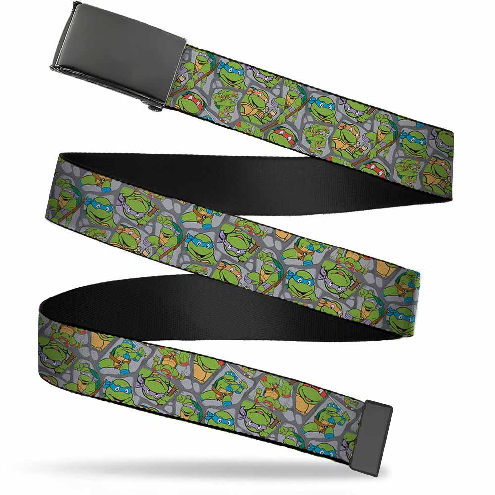 """Nickelodeon Unisex-Adult's Buckle-Down Web Belt Ninja 1.5"""", Classic TMNT Expression & Pose Turtle Shell Collage Lavender, Wide-Fits up to 42"""" Pant Size"""