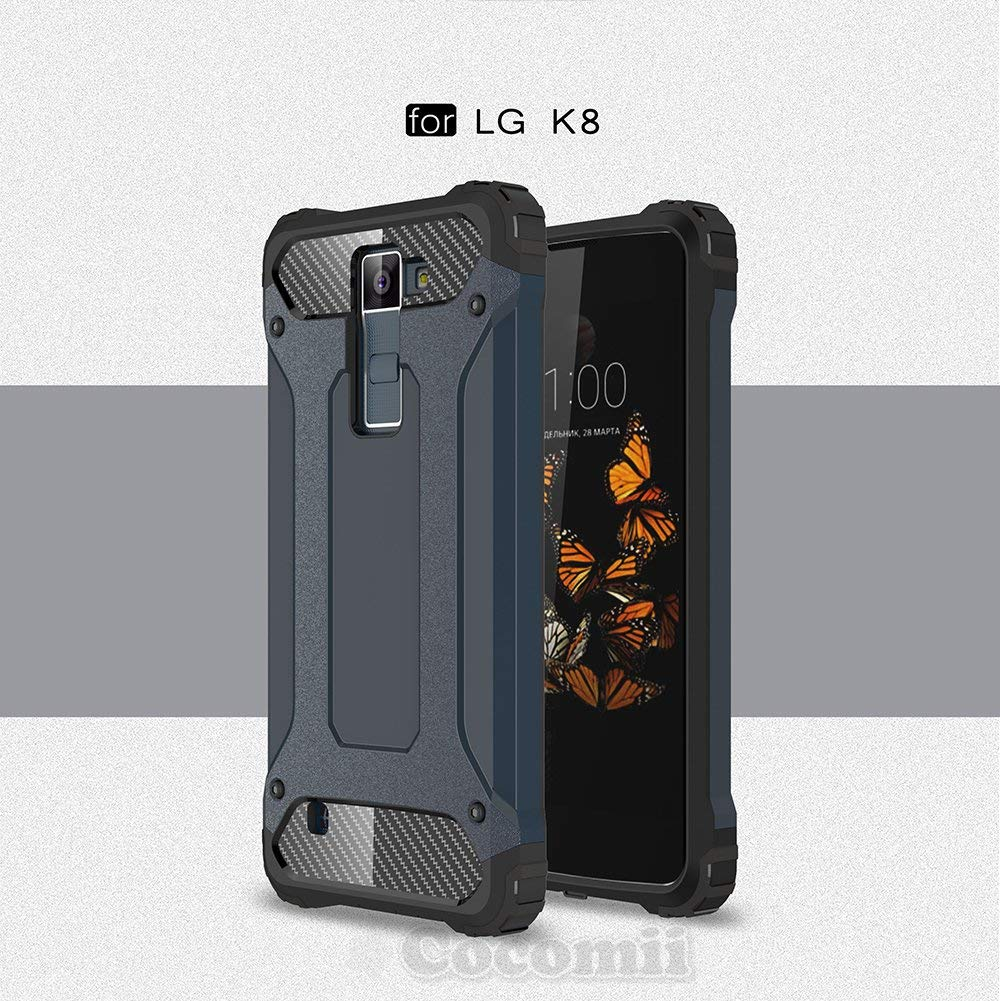 Cocomii Commando Armor LG K8/Phoenix 2/Escape 3 Case New [Heavy Duty] Premium Tactical Grip Dustproof Shockproof Bumper [Military Defender] Full Body Dual Layer Rugged Cover for LG K8 (C.Metal Slate)