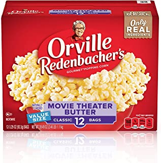 product image for Orville Redenbacher's Movie Theater Butter Microwave Popcorn, 3.29 Ounce Classic Bag, 12-Count, Pack of 6