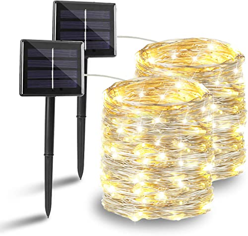 BHCLIGHT Solar String Lights, 2-Pack Each 200LED Upgraded Durable Solar Lights Outdoor, Waterproof 8 Modes Solar Fairy Lights for Wedding Patio Garden Tree Yard Party -Warm White, Silver Wire
