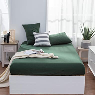 LIFETOWN Jersey Knit Cotton Fitted Sheet King, 1 Fitted Sheet and 2 Pillowcases, Extra Deep Pocket Fitted Bottom Sheet, Ultra Soft and Easy to Put (King, Dark Green)