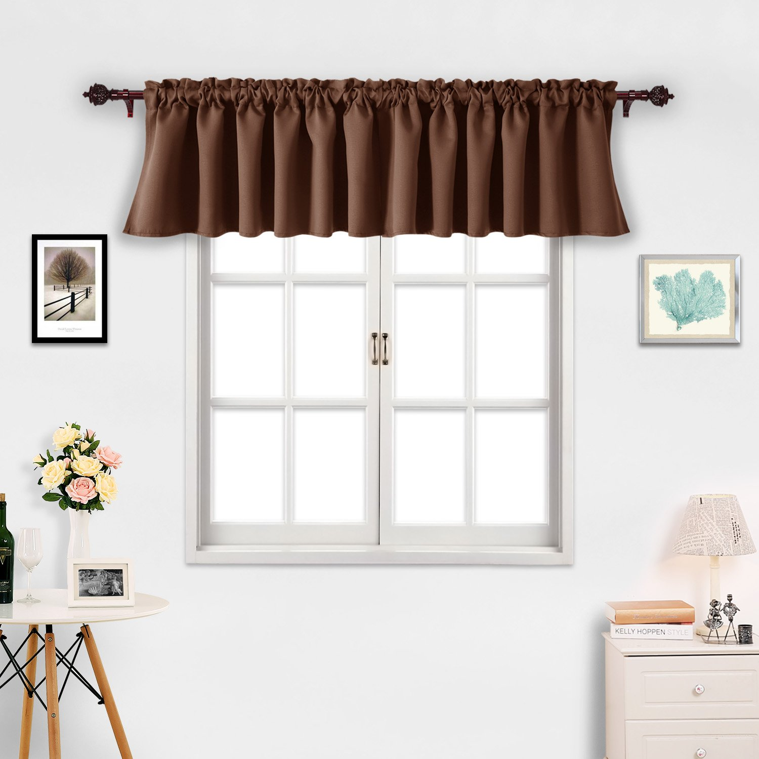 Deconovo Solid Blackout Rod Pocket Curtains Textured Embossed Valance for Living Room 52x18 Inch Royal Blue 2 PCS