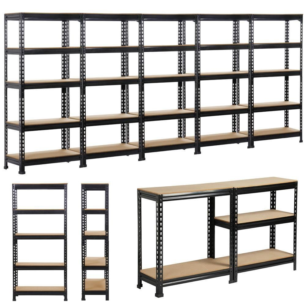 Popamazing Heavy Duty 1/2/3/4/5 Pieces 5 Tiers Boltless Commercial Racking Garage Shelving Unit Storage Shelf Display Black (Set of 1)