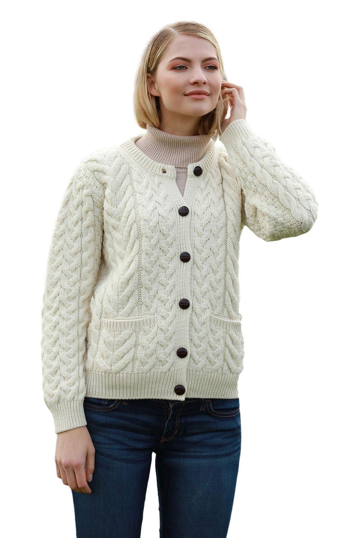Supersoft Aran Wool Lumber Jacket Cardigan Sweater (Natural, Large) by Aran Woollen Mills